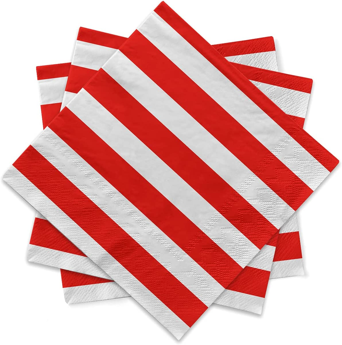 Gatherfun Disposable Paper Napkins 3-ply Red and White Stripe Beverage Napkins for Dinner, Picnic, Birthday Party(6.5X6.5inches, 20-Pack)