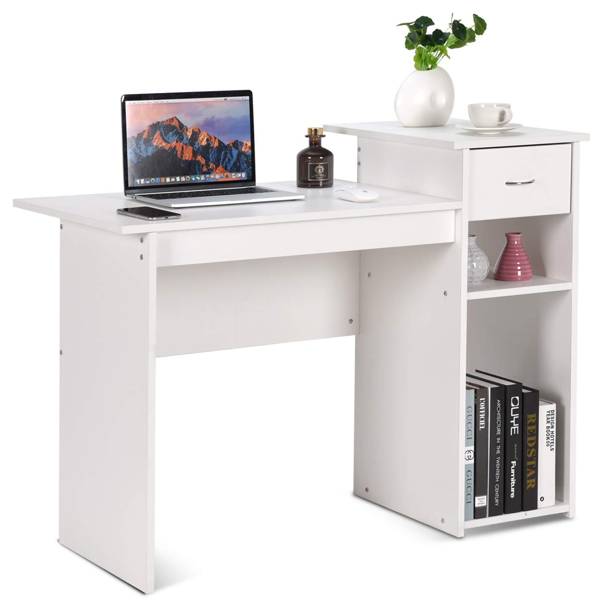 Tangkula Computer Desk, Home Office Wooden PC Laptop Desk, Modern Simple Style Wood Study Workstation, Writing Table with Storage Drawer Shelves, Wooden Furniture White