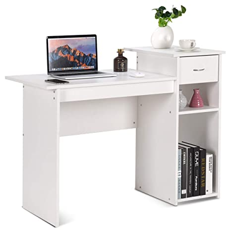 Tangkula Computer Desk, Home Office Wooden PC Laptop Desk, Modern Simple  Style Wood Study Workstation, Writing Table with Storage Drawer & Shelves,  ...