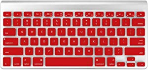 Funut Silicone Keyboard Cover Dust-Proof Washable Skin Gel Keyboard Protector for Old MacBook Pro 13 15 17 Air 13 2015 or Older Version iMac and Air 13,iMac Wireless Keyboard, Red