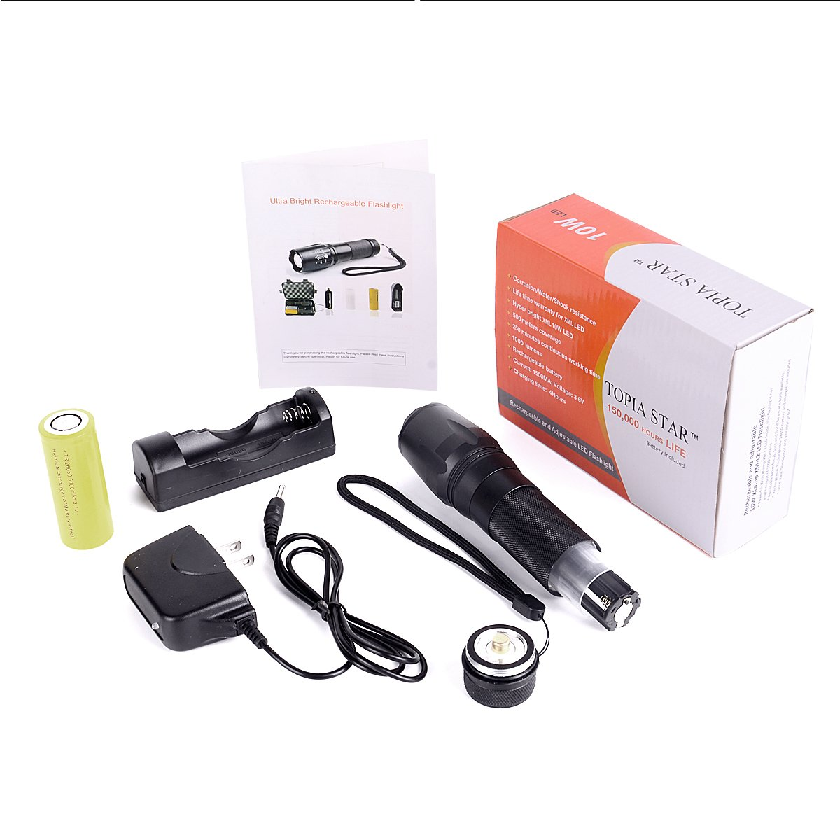 TOPIA STAR Powerful Flashlight, Professional Outdoor Warerproof Rechargeable Led Flashlight by TOPIA STAR (Image #8)