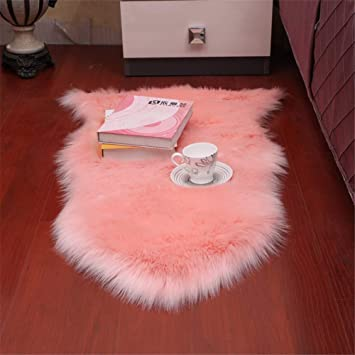 Dikoaina Classic Soft Faux Sheepskin Chair Cover Couch Stool Seat Shaggy Area Rugs for Bedroom Sofa Floor Fur Rug,Grey,2 x 3 Feet