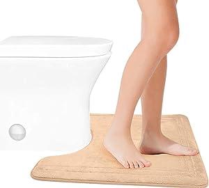 Contour Toilet Rug Memory Foam U-Shaped,Soft & Absorbent Bathroom Toilet Bath Rugs,Non Slip,Machine Washable,Absorbent,20