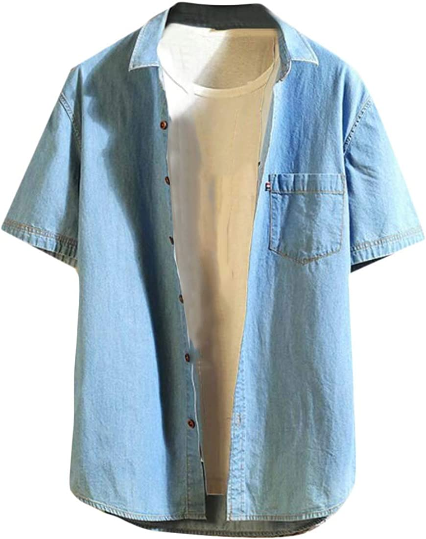 OTW Men Casual Short Sleeve Pockets Regular Fit Denim Work Western Shirt