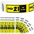 "Goldistock 3/4"" Tyvek Wristbands Over 21- Neon Yellow Easy Drinking Age Identification"