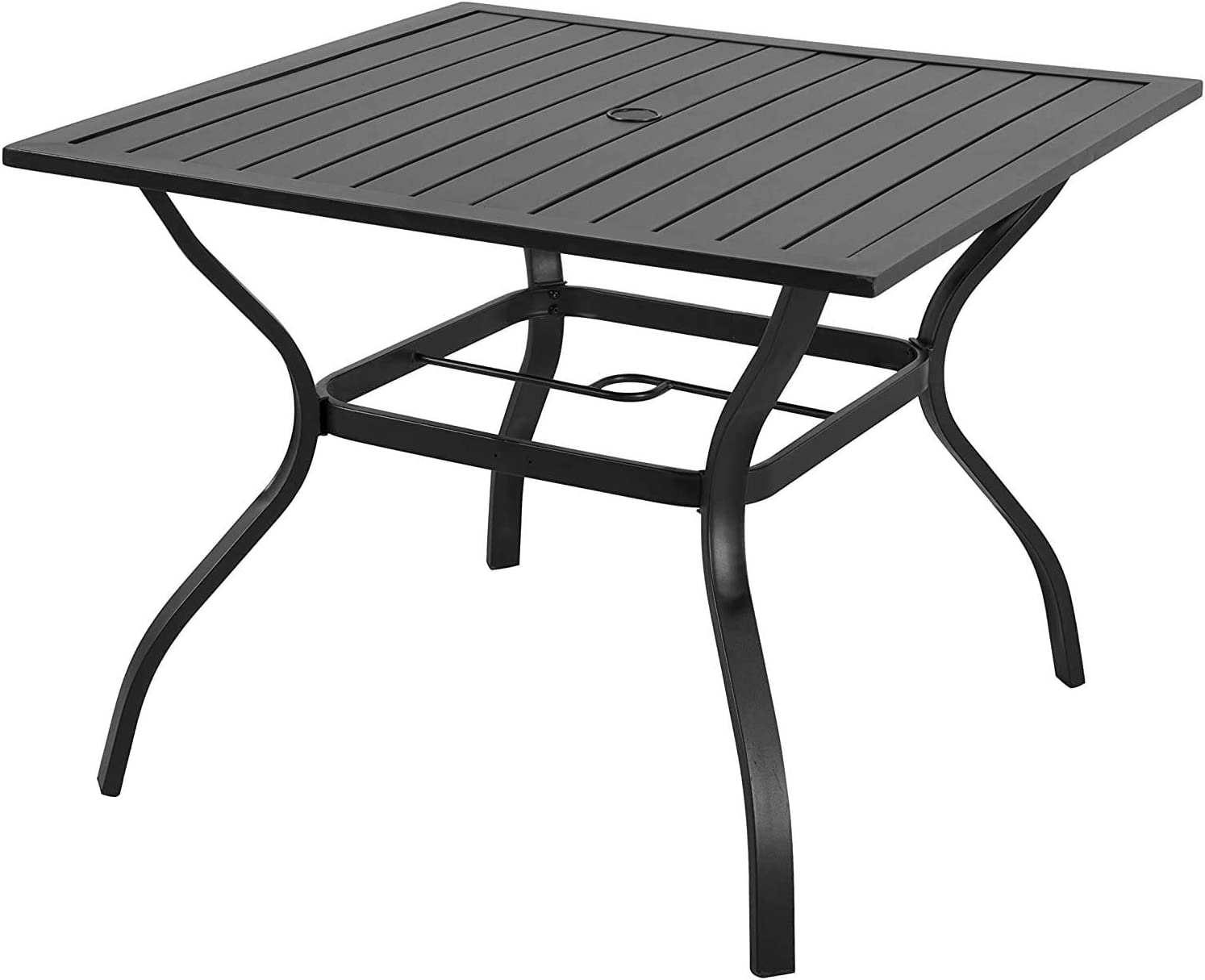 Amazon Com Emerit Outdoor Patio Bistro Metal Dining Table With Umbrella Hole 37 X37 Black Dining Table Garden Outdoor