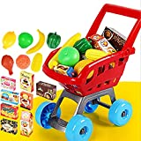Kids Pretend Play Vanity Toys Set,Shopping Cart and Groceries