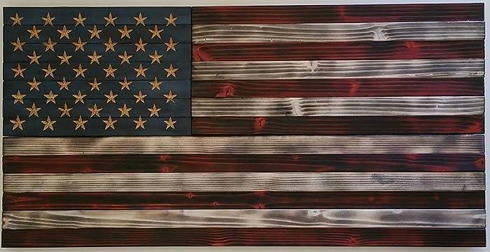 American Flag Rustic Wood 36quot