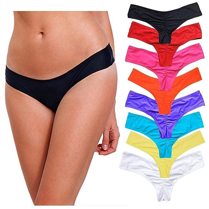 5455eb44147 CROSS1946 Sexy Women's Bikini Thong Bottom Brazilian V Cheeky Ruched Semi  Swimsuit S Black