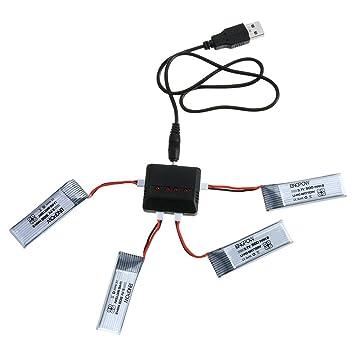 COSANSYS® Accesorios de Dron X4 1PCS 4 en 1 Cargador + 4PCS 3.7V 500MAH Batería para JJRC H37 Quadcopter