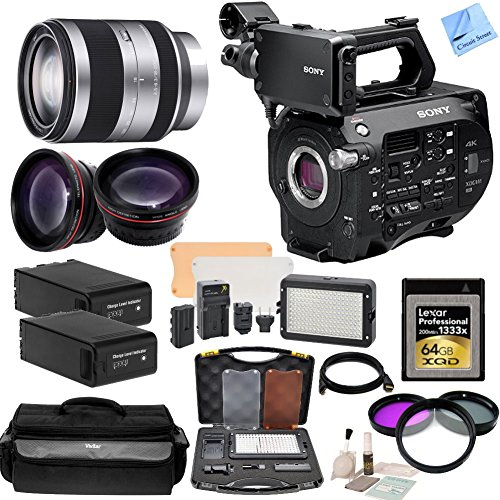 Sony PXW-FS7 XDCAM Super 35 Camera System With CS Documentary Kit: Includes Sony - E-Mount 18-200mm f|3.5-6.3 Zoom Lens, Lexar - 64GB Professional 1333x XQD Memory Card, HD Wide Angle Lens, Telephoto HD Lens, 3 Piece Filter Kit, 2 Sony BP-U90 Replacement