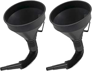 U-BCOO Multi-fFunctional Plastic Funnel Oil Funnel with Flexible Extension Nozzle for Cars and Motorcycles, Engine Oil, Liquid, Diesel, Kerosene and Gasoline (2PC Funnel)
