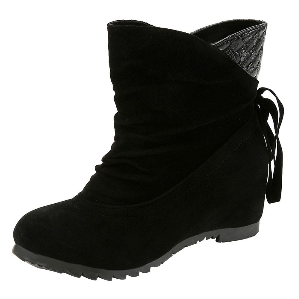 Boots For Womens -Clearance Sale ,Farjing Women Boots Flat Low Slip-On Wedges Ankle Boots Casual Shoes Martin Boots(US:6.5,Black )