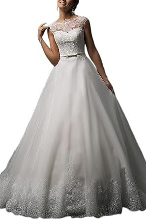Homdor 2018 Wedding Dresses Long A Line Sleeveless Belt White Bridal Ball Gowns