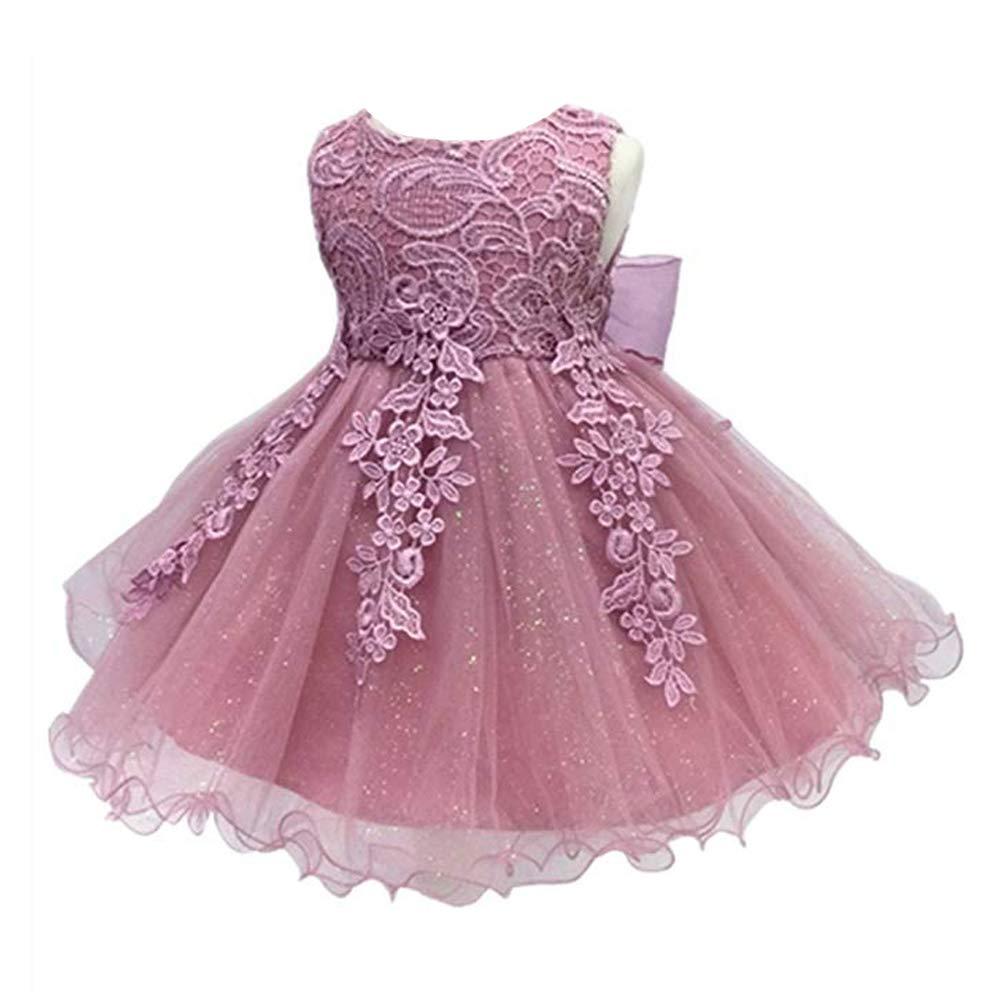 393ae86db8 LZH Baby Girls Birthday Christening Dress Baptism Wedding Party Flower Dress  for Newborn(5801-Dark Pink