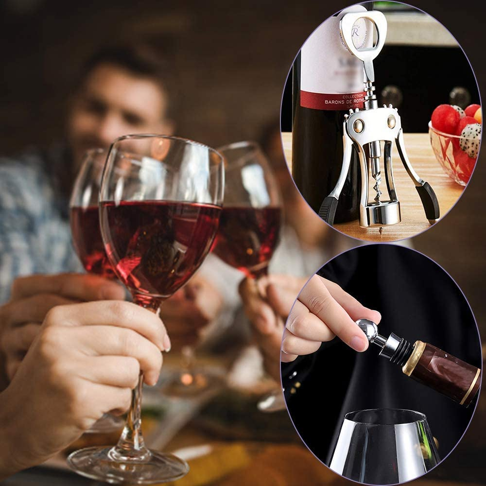 cavatappi e Tappo per Bottiglia SUFUS Cavatappi per Vino Rosso e apribottiglie per Birra con Due Leve Antiscivolo Lussuoso cavatappi per camerieri