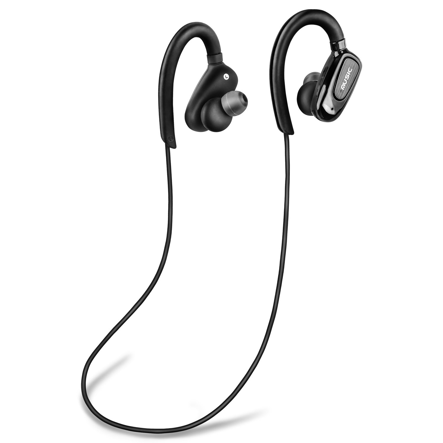 Grantek Bluetooth Headphones, Stereo Sound Wireless Earbuds, Sweatproof in-ear Earphone w Mic, Noise Cancelling Headset For Sports, Running, Gym, Workout Black