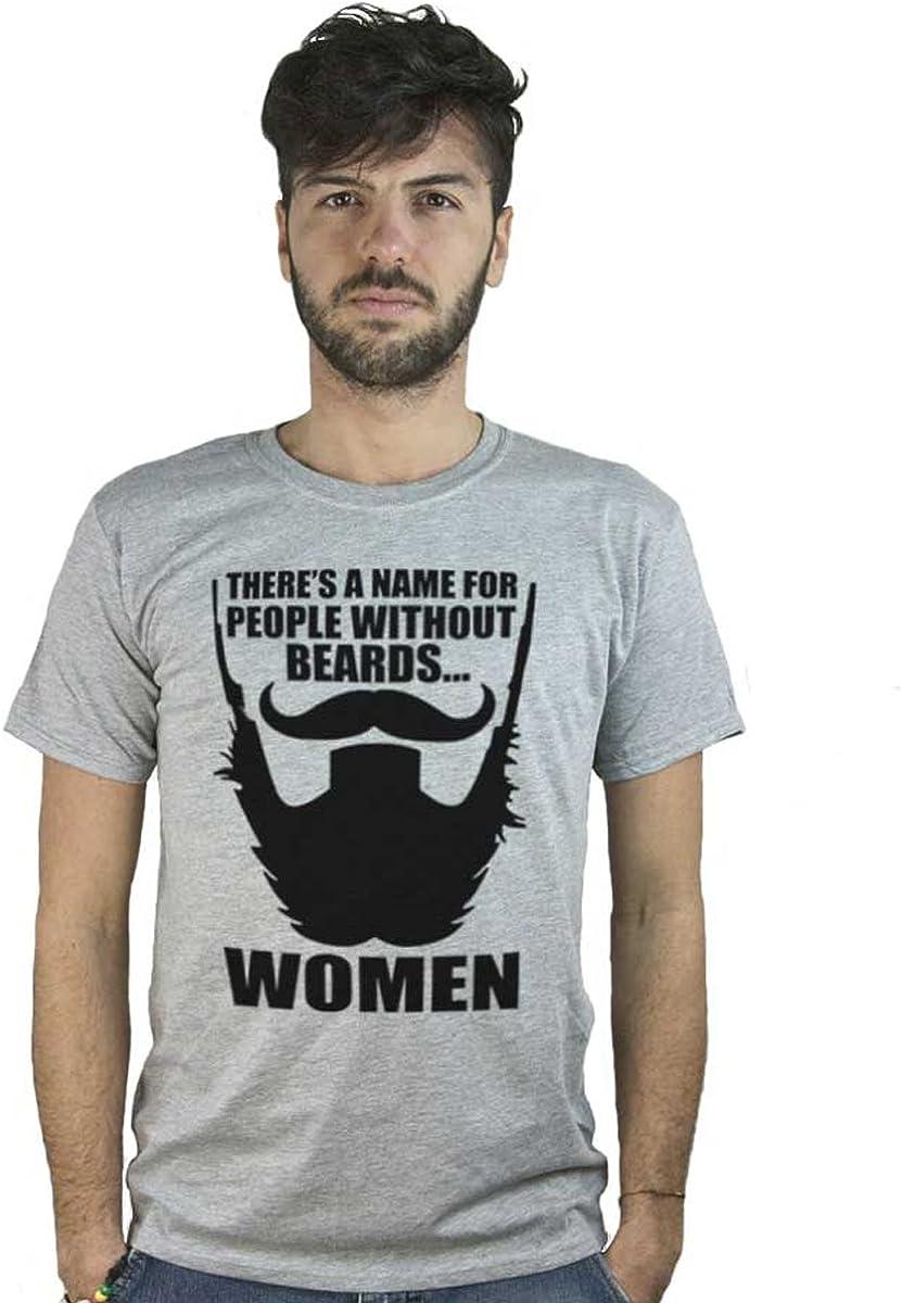 T Shirt Uomini Senza Barba, Maglietta Grigio Melange con Frase Divertente in Inglese sulla Moda Hipster