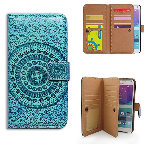 Bfun Packing Bcov Elephant Mandala 9 Card Slots Purse Wallet Leather Cover Case For Samsung Galaxy Note 4