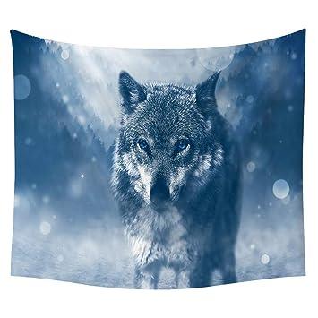 Morbuy Kreativ Mandala Tapestry Hippie Wandteppich Wolf Tapisserie