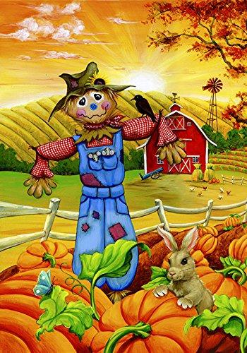 Toland Scarecrow - Toland Home Garden Scarecrow Buddies 28 x 40 Inch Decorative Fall Autumn Pumpkin Farm House Flag