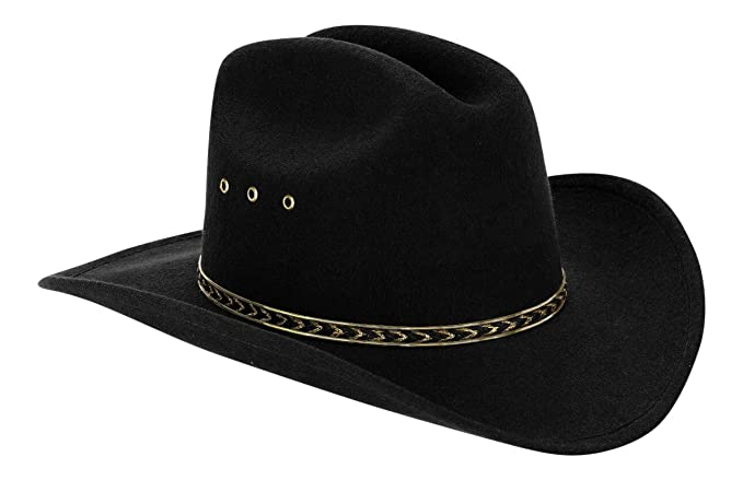 612515086fa Amazon.com  Western Black Child Cowboy Hat for Kids (Black Gold Band)   Clothing