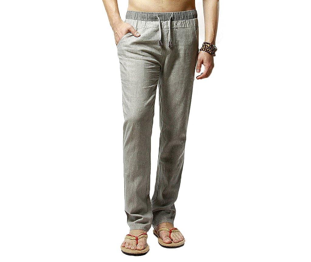 Elonglin Mens Casual Linen Pants Comfortable Trousers Elastic Waist Drawstring EL.CK0187