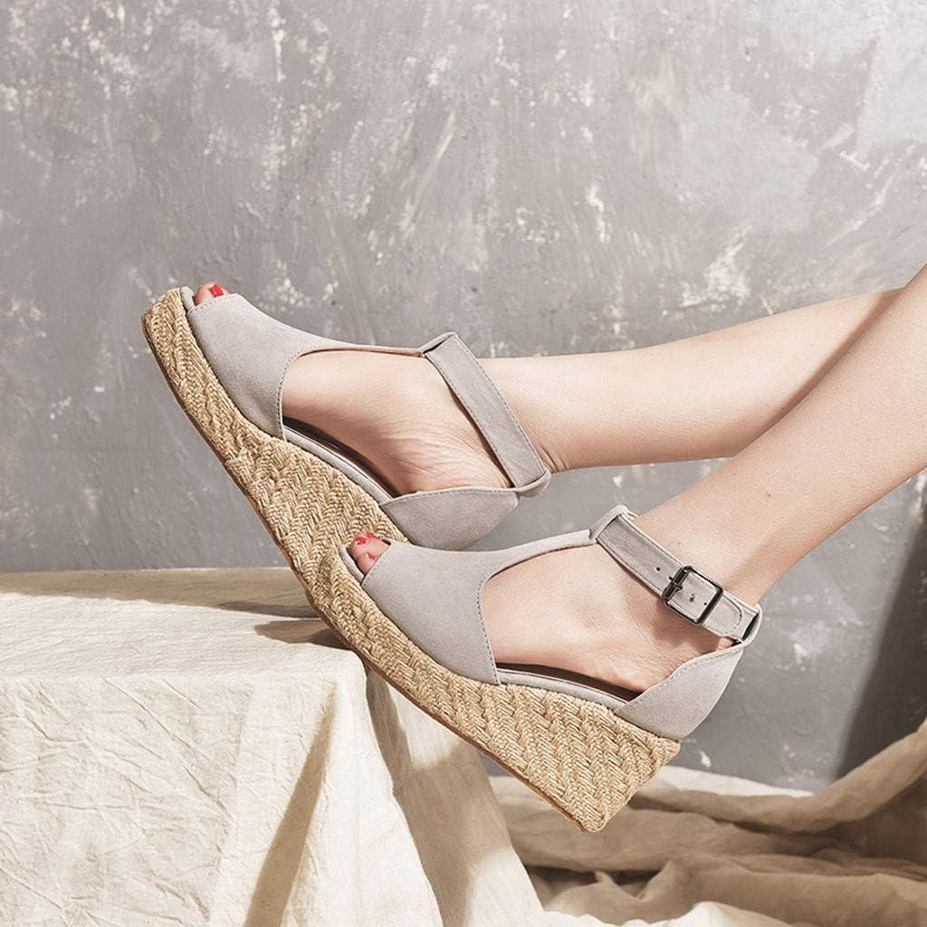 SSYUNO Womens Platform Sandals Espadrille Wedges Crisscross Strappy Peep Toe Sandals Summer Comfy Flatform Shoes