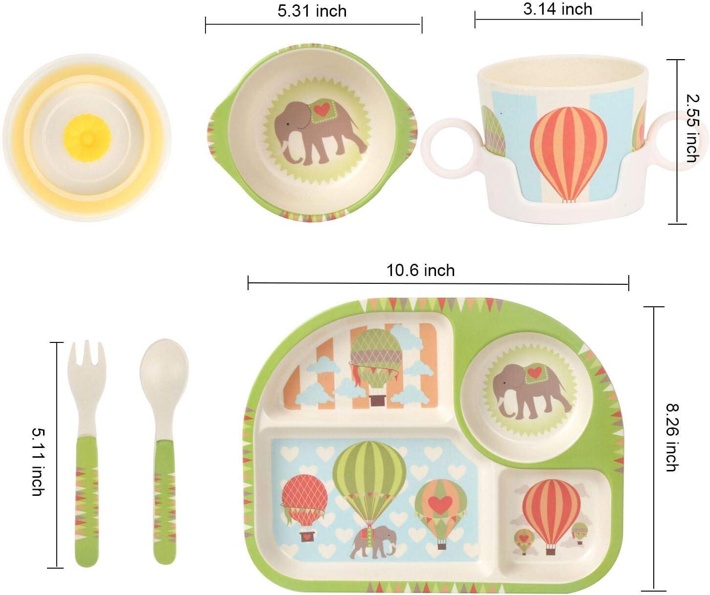 cuill/ère Shopwithgreen Lot de 5 assiettes plates en fibre de bambou pour enfants avec assiette creuse tasse vaisselle de dessin anim/é Passe au lave-vaisselle fleur fourchette