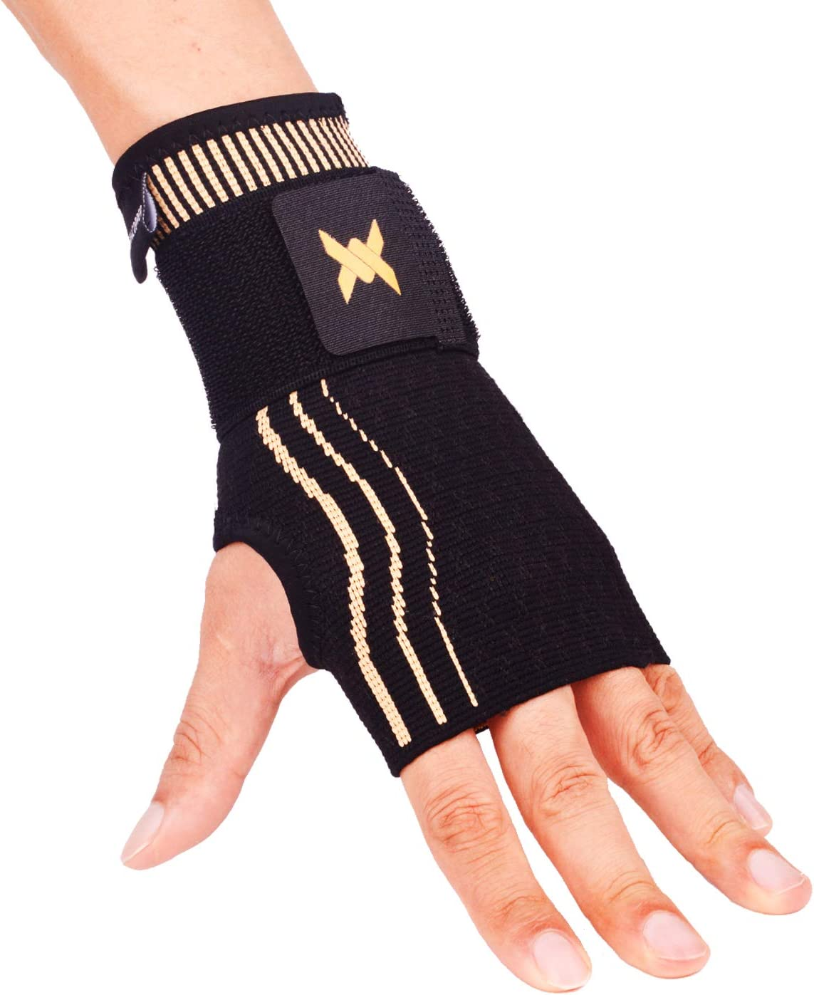 Thx4COPPER Wrist Sleeve with Adjustable Strap for Extra Support -Copper Infused Compression Wrist Brace-RELIEF For Carpal Tunnel, RSI, Tendonitis, Arthritis, Wrist Sprains and Fatigue-SINGLE-M