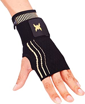 Thx4COPPER Wrist Sleeve with Adjustable Strap for Extra Support - Copper Infused Compression Wrist Brace-RELIEF For Carpal Tunnel, RSI, Tendonitis, Arthritis, Wrist Sprains and Fatigue-SINGLE-S