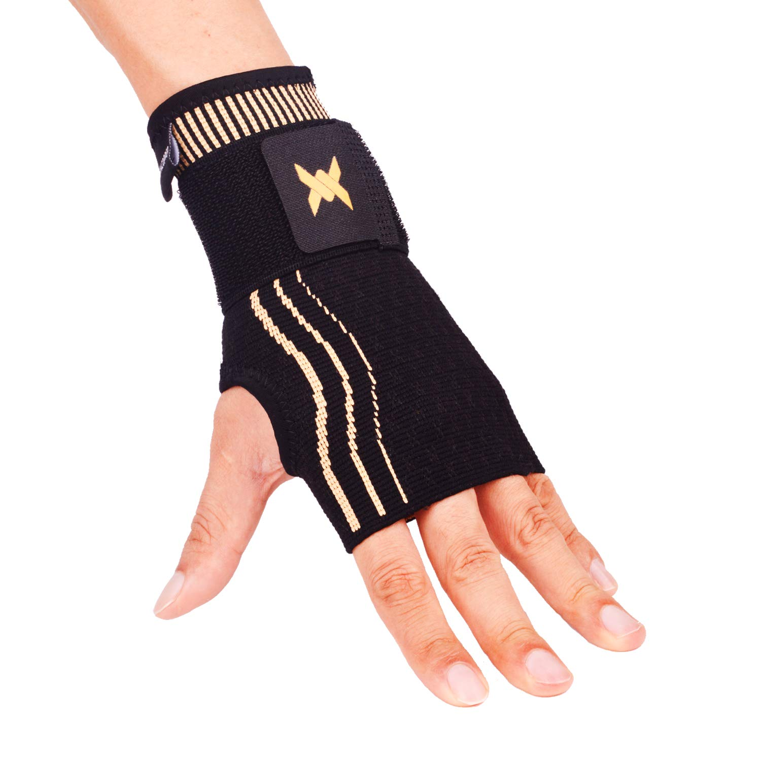 Thx4 Copper Wrist Sleeve with Adjustable Strap for Extra Support -Copper Infused Compression Wrist Brace-Relief for Carpal Tunnel, RSI, Tendonitis, Arthritis, Wrist Sprains and Fatigue-Single-M
