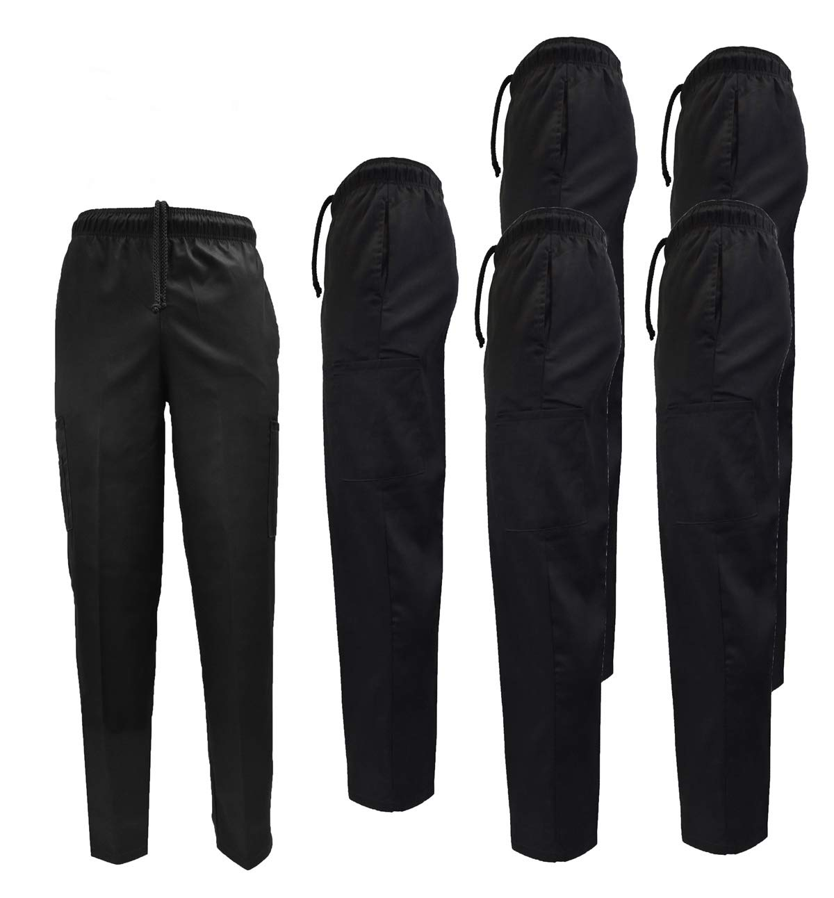 Natural Uniforms Classic Chef Pants (XXX-Large, Black Pack of 6) by Natural Uniforms
