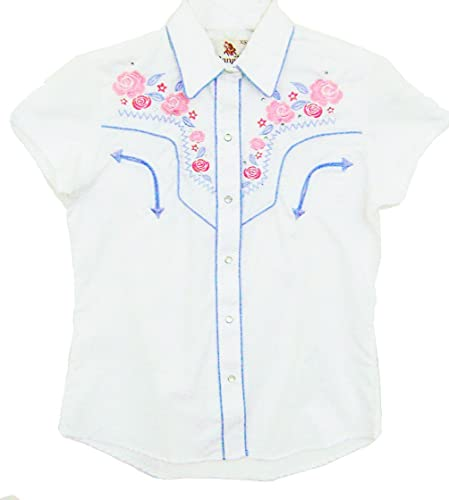 Modestone Women'S Embroidered Short Sleeved Fitted Western Camisa Vaquera Rose Floral Beige