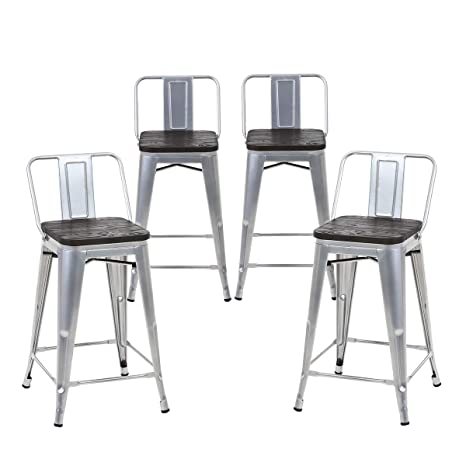 Wondrous Buschman Set Of 4 Grey Wooden Seat 24 Inches Counter Height Metal Bar Stools Medium Back Indoor Outdoor Forskolin Free Trial Chair Design Images Forskolin Free Trialorg