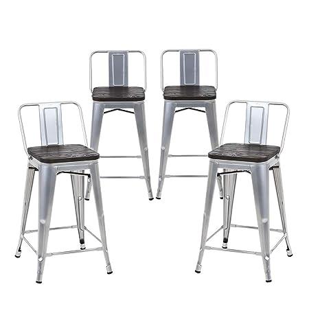 Buschman Set of 4 Grey Wooden Seat 24 Inches Counter Height Metal Bar Stools Medium Back, Indoor Outdoor