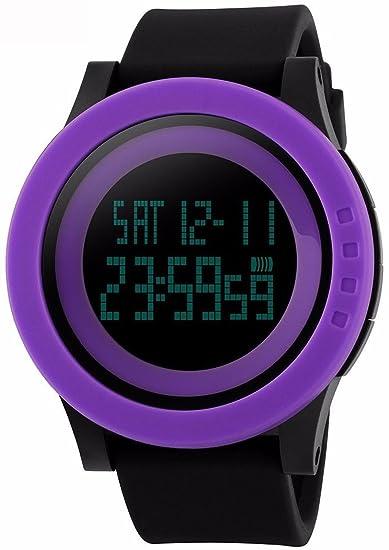 Gosasa Unisex de la gran esfera multifunción 50 m resistente al agua negro correa de silicona lcd digital deporte relojes 1142, color morado: Amazon.es: ...