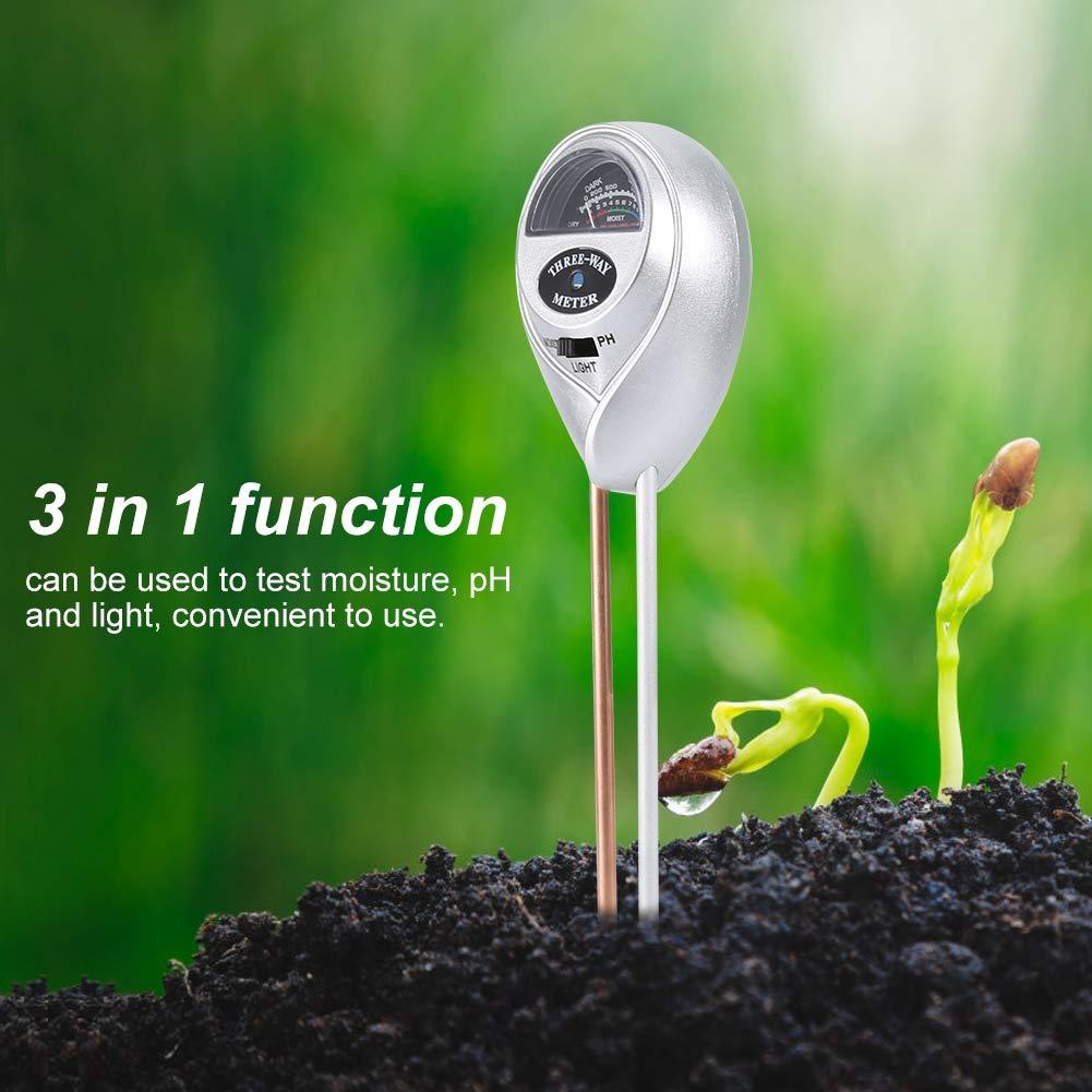 Wifehelper Bodentester 3 in 1 Bodenfeuchtigkeitsmessger/ät Pflanzenfeuchtigkeitsmonitor Licht PH-Detektor f/ür die Pflege von Indoor Outdoor Pflanzen