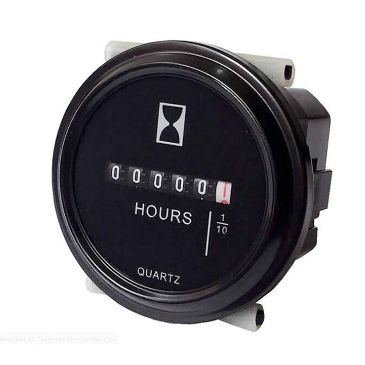 DEALPEAK 12V 24V 36V Hour Meter//Tachometer 2 Round Waterproof Gauge For Marine Boat Tractor Engine
