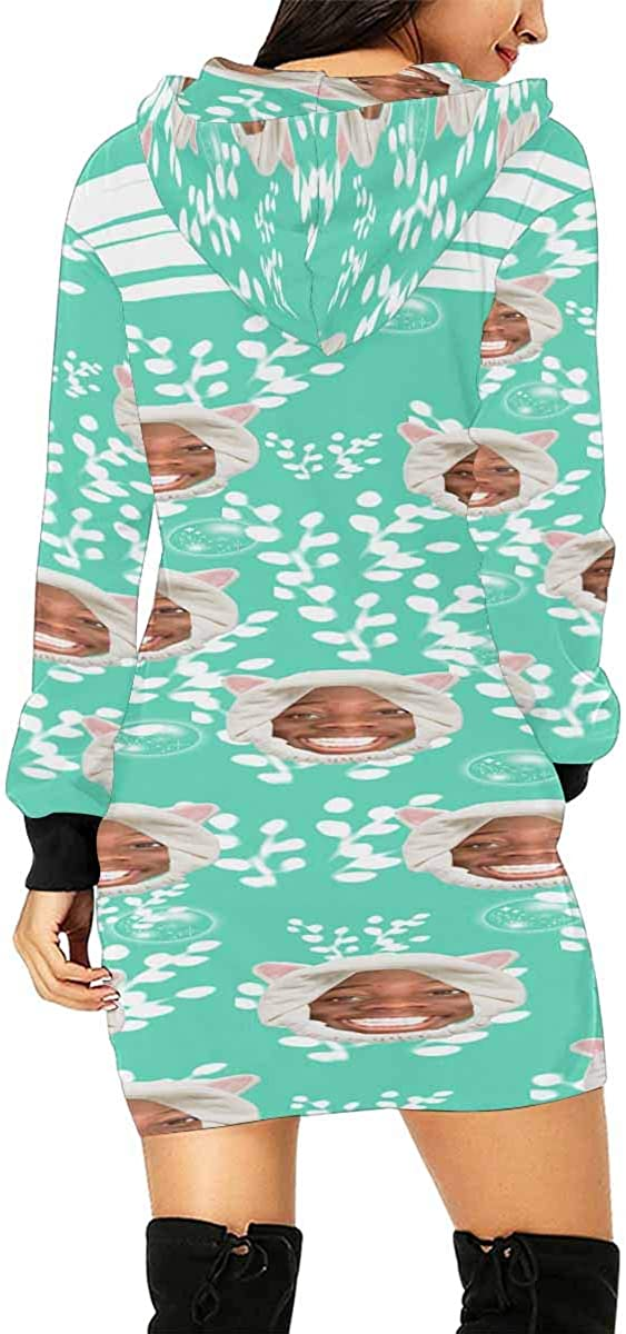 INTERESTPRINT Womens Hooded Dress with Pocket Skateboard Pattern Pullover Tunic Drawstring