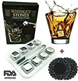 Image of Whiskey Stones Gift Set of 8 Stainless Steel Reusable Ice Cubes with Tray and Tongs. Bar Accessory for Whiskey or Wine Lovers. no Dilution, Taste or Odor with Chilling Cubes and Rocks by TANGRA.