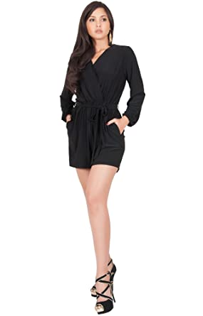 8876a5c6689 Amazon.com  KOH KOH Womens Sexy Long Sleeve V-Neck Wrap Casual Summer Short  Romper Jumpsuit  Clothing