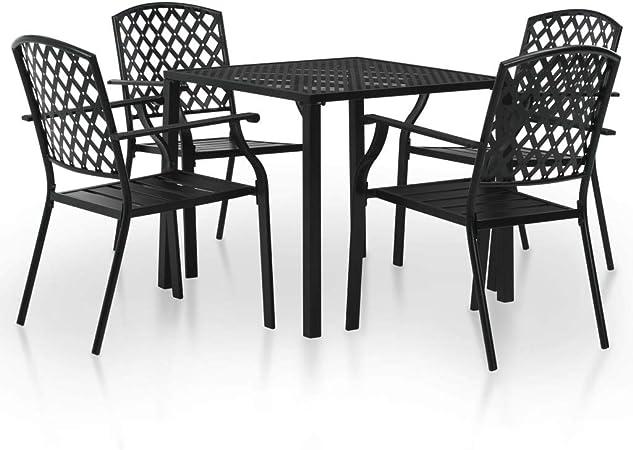 Set Pranzo Da Giardino.Set Di 5 Pezzi Set Tavolo Da Pranzo Da Esterno Design In Maglia