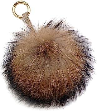 Real Fur Ball PomPom Car Phone Keychain Handbag Removable Key Ring Top Sale New