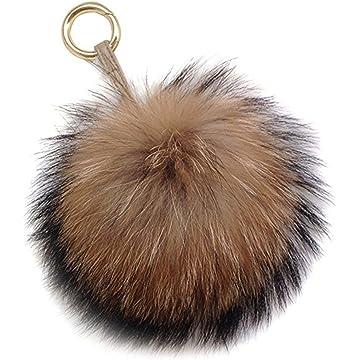 Amazon.com   Miraclekoo Rabbit Fur Ball Pom Pom KeyChain Gold Plated ... f3d11f198b5f