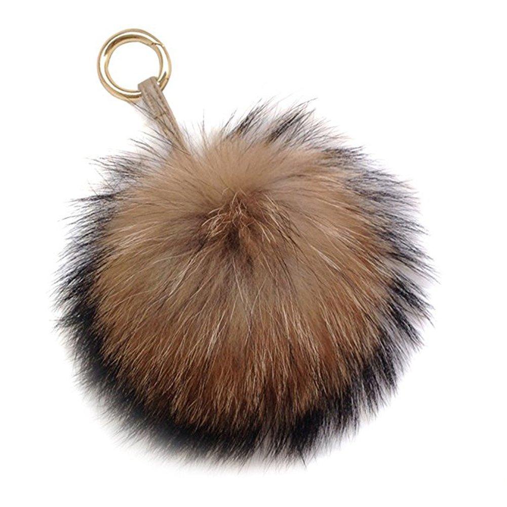 6'' Large Genuine Fur Pom Pom Puff Ball Car Keyring / Bag Purse Charm (Natural brown)
