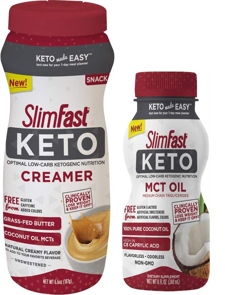 SlimFast Keto Bundle - MCT Oil 8 fl. oz. Bottle, 16 Servings and Ketogenic Creamer, 6.6oz, 15 Servings
