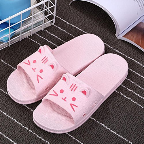 Sonnena Women Thick Bottom Flat Slipper Casual Street Style Non-Slip Soft Flip Flop Sandal Sports Indoor and Outdoor Sliders Bath Beach Pool Shoes Can Match Socks Pink( women ) SeUjoh