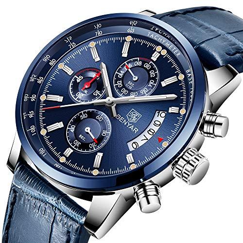 Original Mens Quartz Watch Unique Sport Watches for Men Fashion Wrist Watch Leather Waterproof Watch Luminous Hands Chronograph Calendar Outdoor Gifts