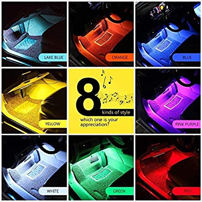 Car LED Strip Light, Multicolor Music Car Interior Lights RGB Under Dash Decorative Lighting Waterproof Kit with Sound Active Function and Wireless Remote Control 4pcs 48LED, DC 5V (USB Port): Car Electronics